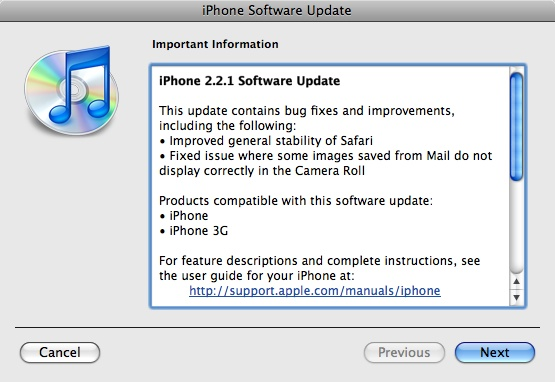 2 2 1 screen Apple releases iPhone and iPod Touch Firmware 2.2.1