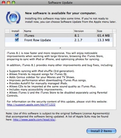 itunes8 421x480 Apple updates iTunes to 8.1, Front Row sees a little love too.