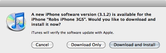 312 update Apple Releases iPhone OS Update 3.1.2 for iPhone/iPod Touch