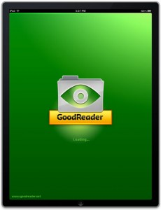 goodreader iPad Loading Screen small 230x300 PR: GoodReader for iPad Turns the Page   Literally