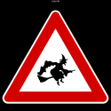 17677 Warning witches! 125x125 Pocket Signs by Attila Sandor Gerendi